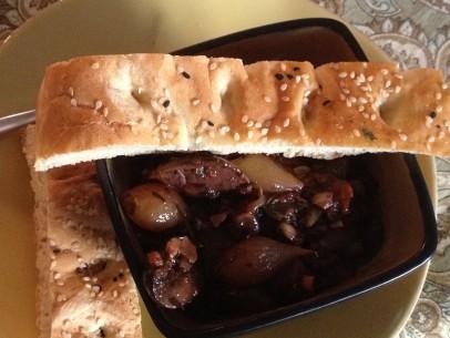 mushroom stifado with lagana