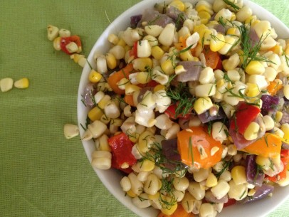 grilled corn salad with bell peppers, red onion and fresh dill