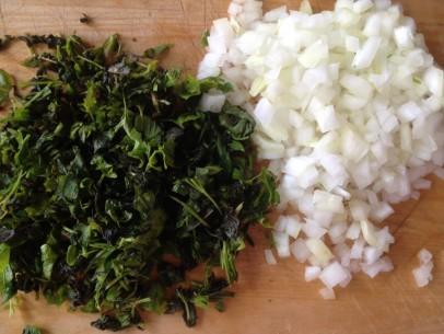fresh mint, fresh parsley and minced onion