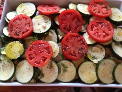 layered, sliced vegetables