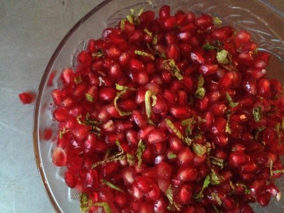 pomegranate seeds with chopped mint